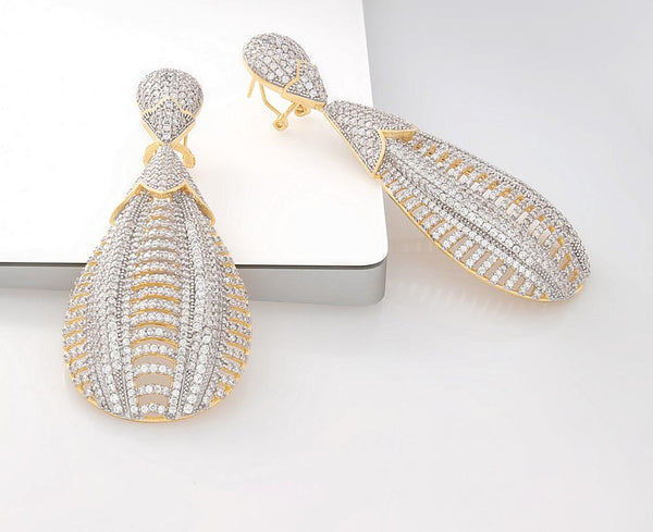 925 Sterling Silver Two Tones Drop Earrings Micro Pave AAA Cubic Zirconia 27ER3X1803574 FashionCat.2