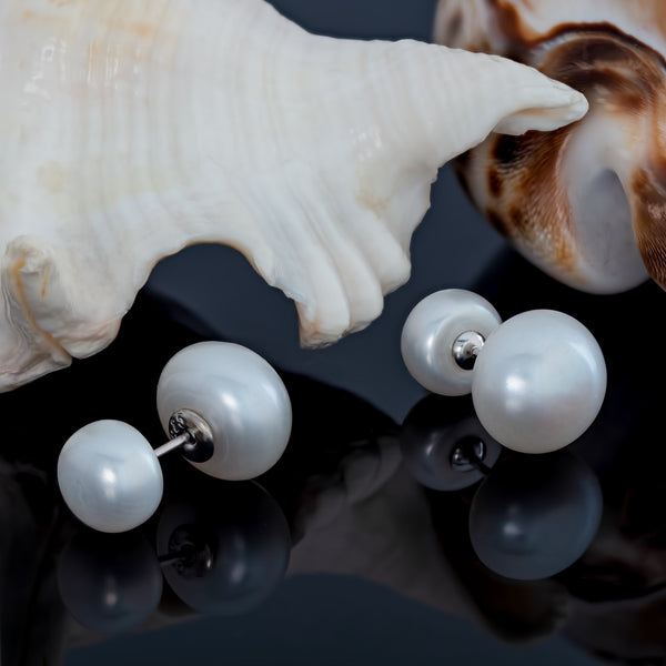 Freshwater Cultured Double Sided Pearl Stud Earrings in 925 Sterling Silver Fashion-Cat-26ES1800590.2