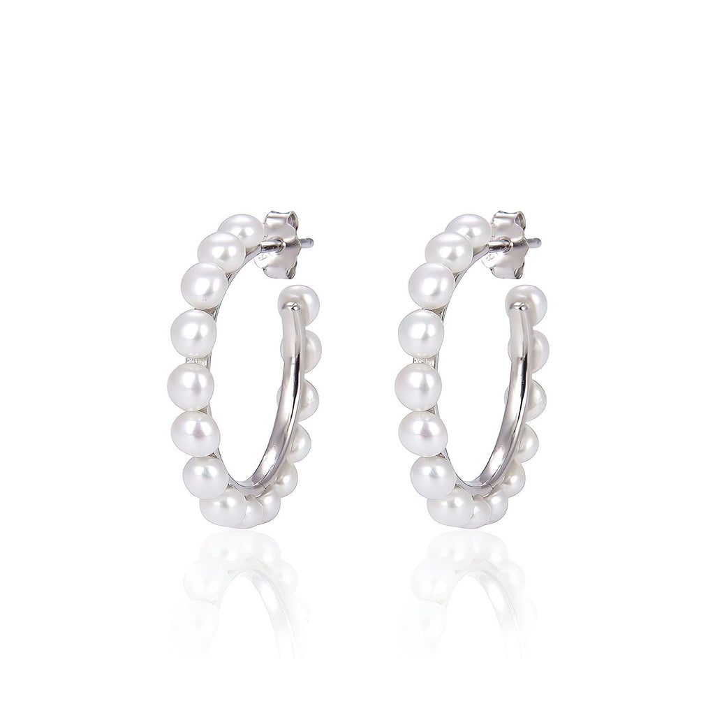Freshwater Pearl Open Hoop Earrings in Rhodium Overlay 925 Sterling Silver Fashion-Cat-29EA18220690S.1