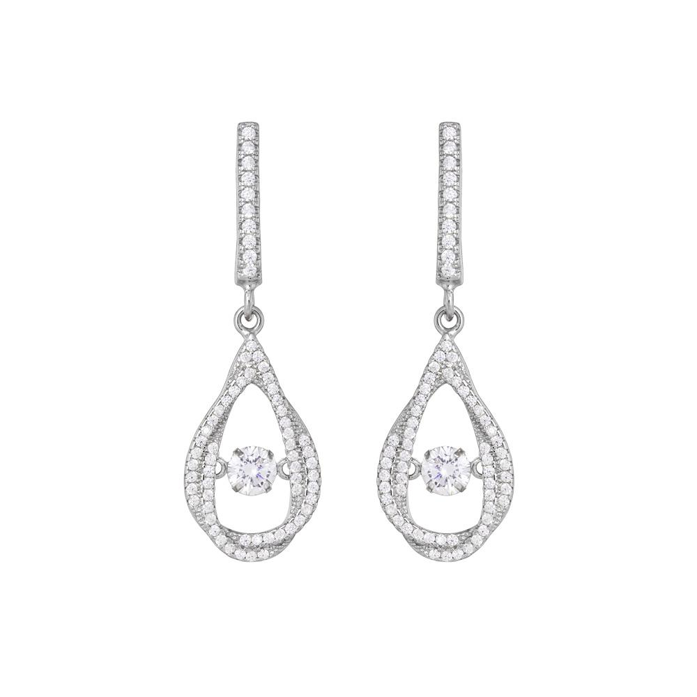 925 Sterling Silver Dancing Stone Earrings Micro Pave Cubic Zirconia Fashion-Cat SE28EB113571027.1