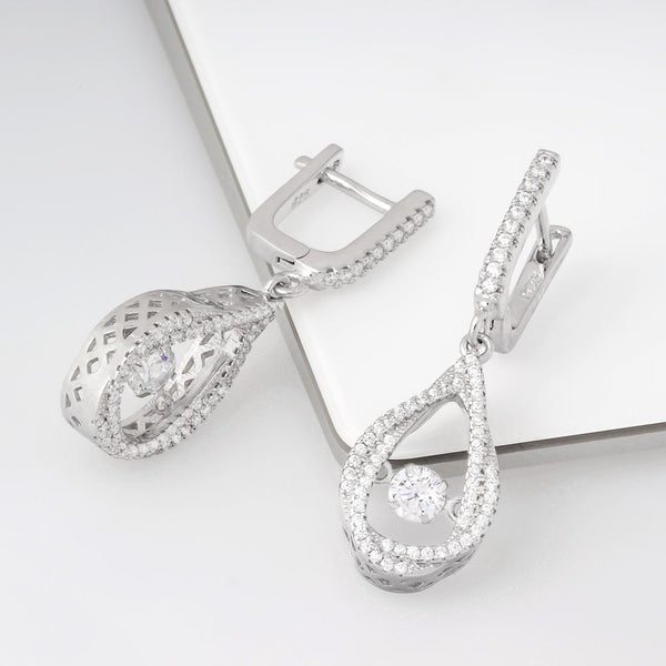 925 Sterling Silver Dancing Stone Earrings Micro Pave Cubic Zirconia Fashion-Cat SE28EB113571027.2
