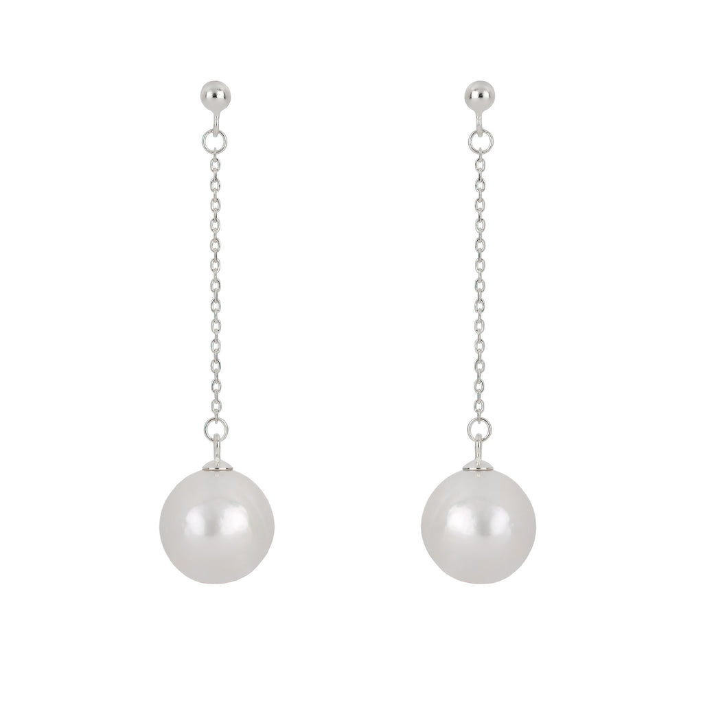 Freshwater Pearl Drop and Dangle Earrings in Rhodium Overlay 925 Sterling Silver Fashion-Cat 26ES1280720.1