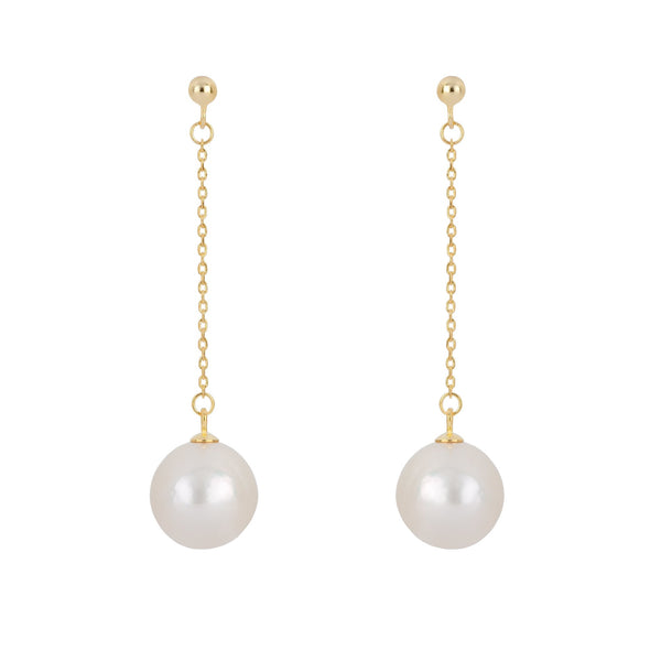 Freshwater Pearl Drop and Dangle Earrings in 14K Gold Overlay 925 Sterling Silver Fashion-Cat SE26ES12900720.1