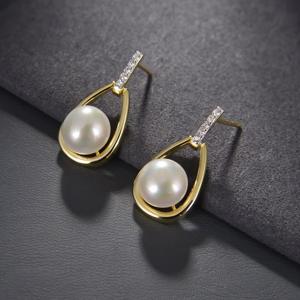 Freshwater Pearl Drop Earrings in 14K Gold Overlay 925 Sterling Silver Fashion-Cat 29EA02560757.2