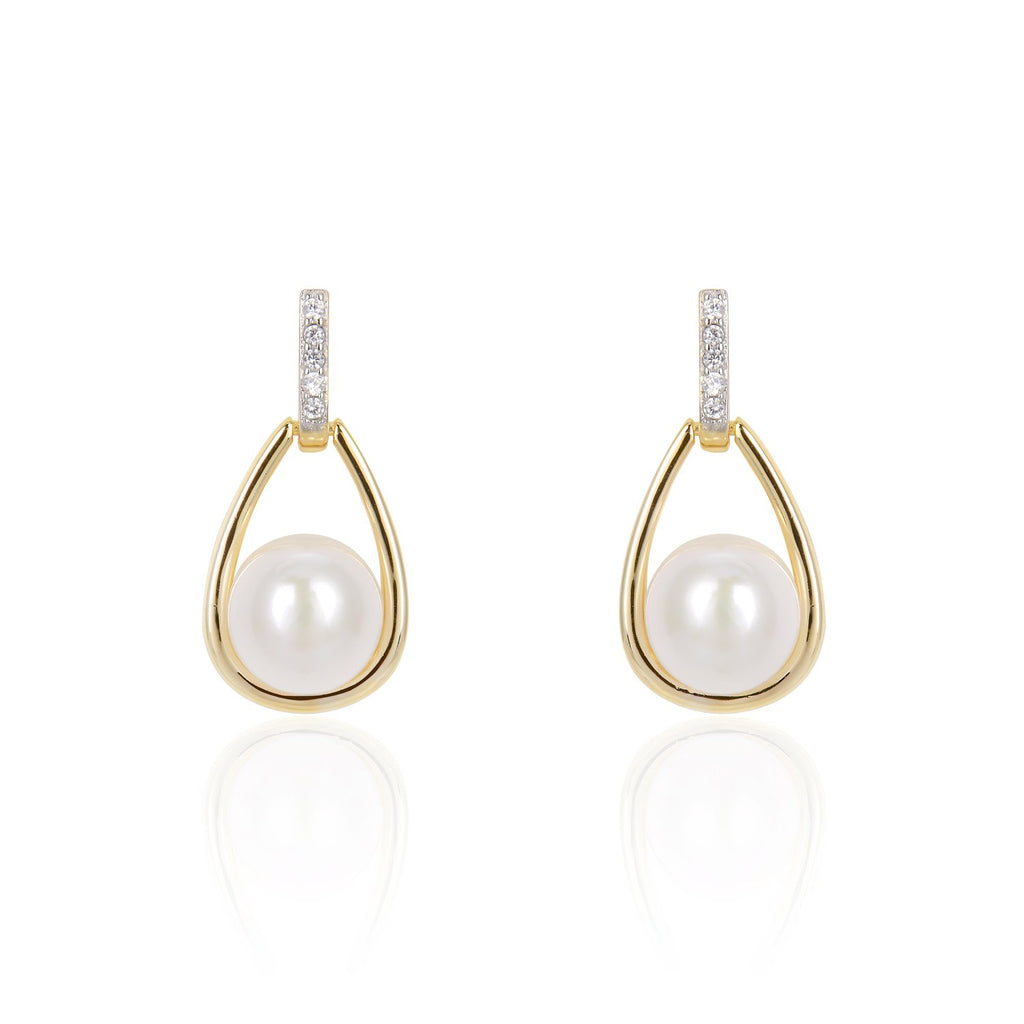 Freshwater Pearl Drop Earrings in 14K Gold Overlay 925 Sterling Silver Fashion-Cat 29EA02560757.1