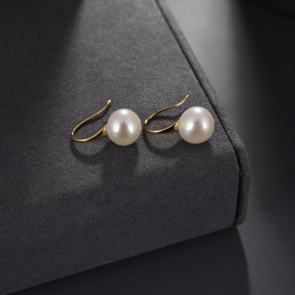 Freshwater Pearl Drop Earrings in 14K Gold Overlay 925 Sterling Silver, 9.5-10 mm Fashion-Cat 29EA14510390.2
