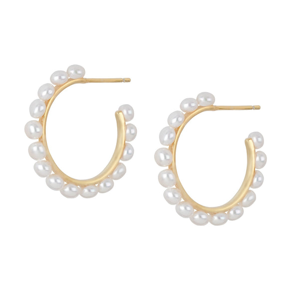 Freshwater Pearl Open Hoop Earrings in 14K Gold Overlay 925 Sterling Silver Fashion-Cat 29EA18220690G.1