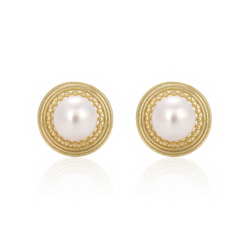 Freshwater Pearl Round Stud Earrings in 14K Gold Overlay 925 Sterling Silver Fashion-Cat 29EA18800525G.1
