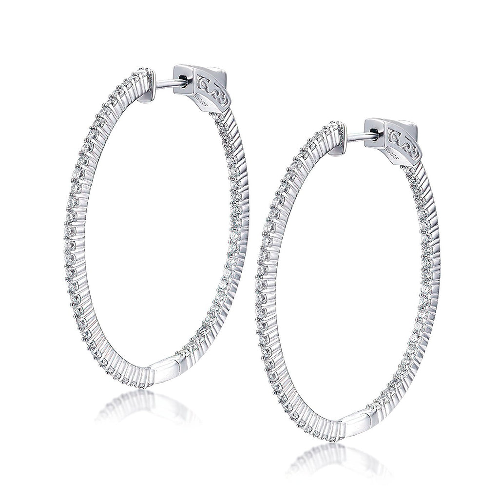"Sterling Silver Oval Hoop Earrings Inside-Out Pave CZ, 1.54"" x 1.42"" Fashion-Cat3 0E296041067.1"