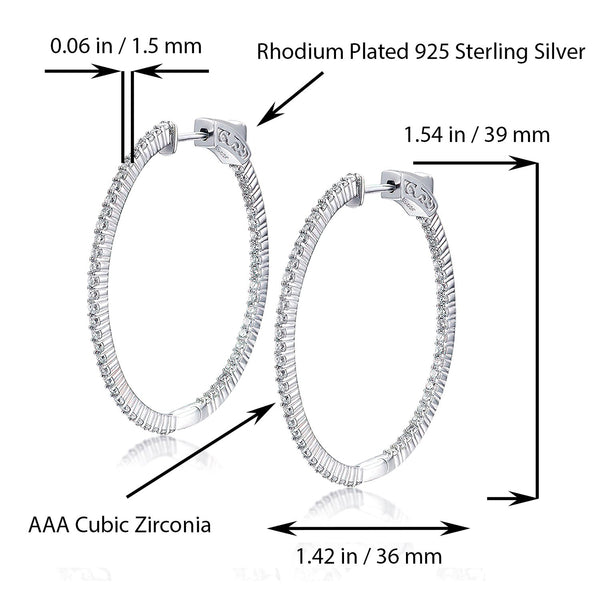 Sterling Silver Oval Hoop Earrings Inside-Out Pave CZ, 1.54