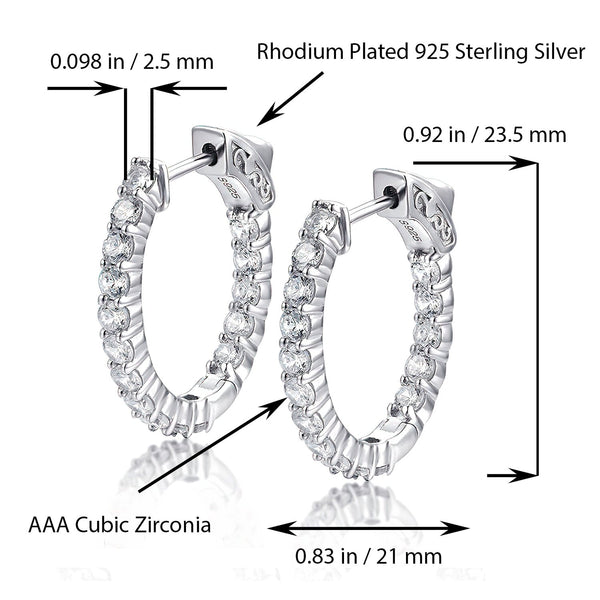 Sterling Silver Oval Hoop Earrings Inside-Out Pave CZ, 0.92
