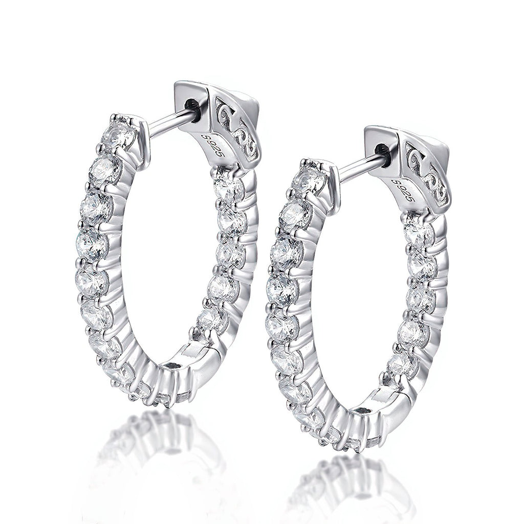 "Sterling Silver Oval Hoop Earrings Inside-Out Pave CZ, 0.92"" x 0.83""  Fashion-Cat 30E296050888.1"