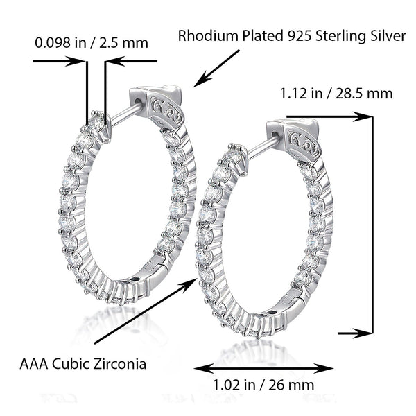 Sterling Silver Oval Hoop Earrings Inside-Out Pave CZ, 1.12