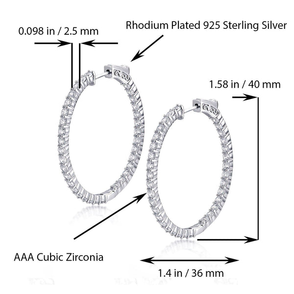 Sterling Silver Oval Hoop Earrings Inside-Out Pave CZ, 1.58