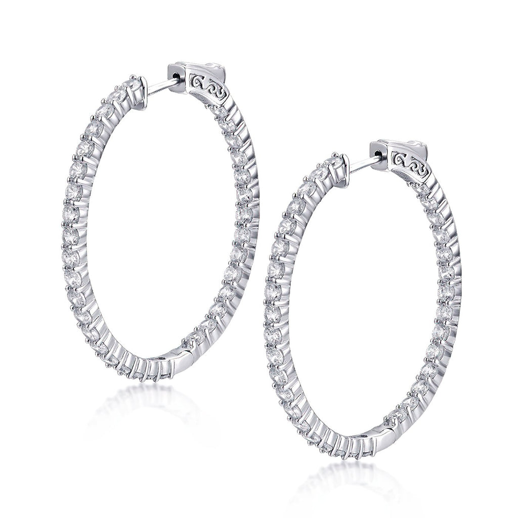 "Sterling Silver Oval Hoop Earrings Inside-Out Pave CZ, 1.58"" x 1.4"" Fashion-Cat 30E296081178.2"