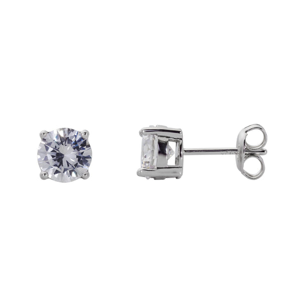925 Sterling Silver 4 Prong Stud Earrings Round Cut Cubic Zirconia (1 Carat) Fashion-Cat-28D49900257.1