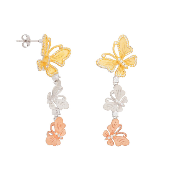 Sterling Silver TriColor Butterfly Drop & Dangle Earrings with Shining CZ Fashion-Cat_27GEX41731233.1