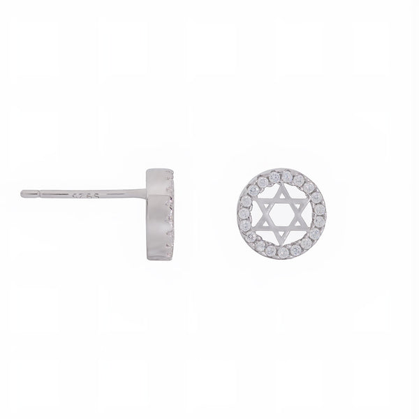 925 Sterling Silver Star of David Halo Stud Earrings with Shining CZ Fashion-Cat_28D39810188.1