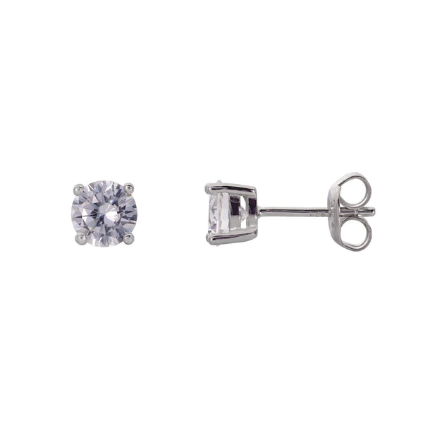 925 Sterling Silver 4 Prong Stud Earrings Round Cut Cubic Zirconia (0.75 Carat) Fashion-Cat_28ED31330183.1