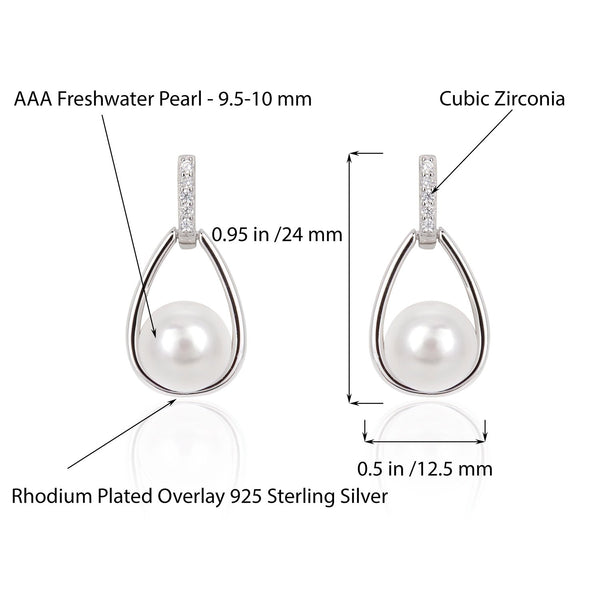Freshwater Pearl Drop Earrings in Rhodium Plated Overlay 925 Sterling Silver Fashion-Cat_29EA02560757W.2