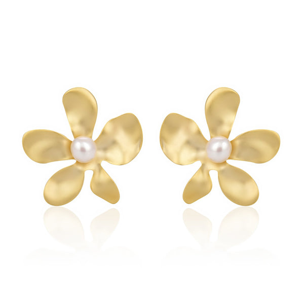 Freshwater Pearl Flower Stud Earrings in 14K Gold Overlay 925 Sterling Silver Fashion-Cat_29EA17030790G.1