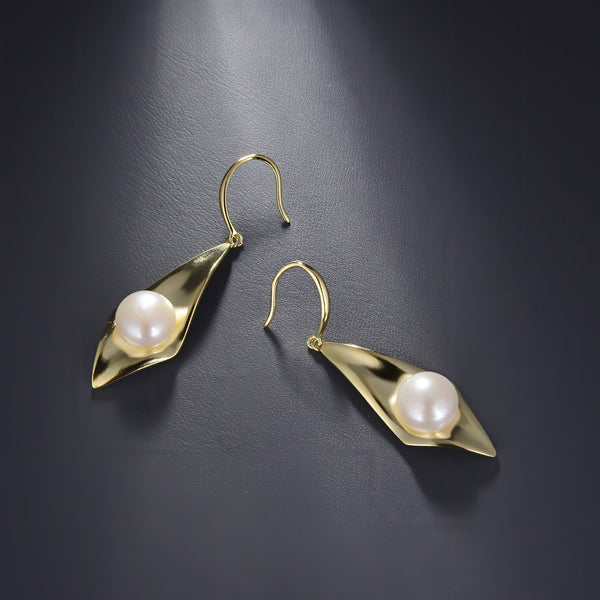 Freshwater Pearl Rhombus Dangle Earrings in 14K Gold Overlay 925 Sterling Silver Fashion-Cat_29EA17410600G.1