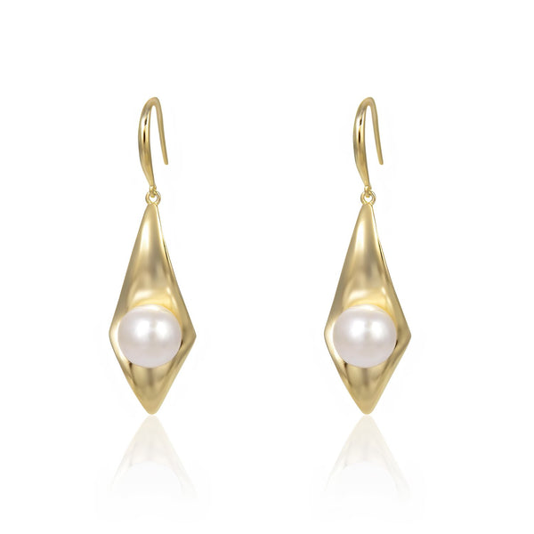 Freshwater Pearl Rhombus Dangle Earrings in 14K Gold Overlay 925 Sterling Silver Fashion-Cat_29EA17410600G
