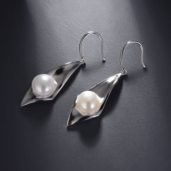 Freshwater Pearl Rhombus Dangle Earrings in 925 Sterling Silver Fashion-Cat_29EA17410600S.1