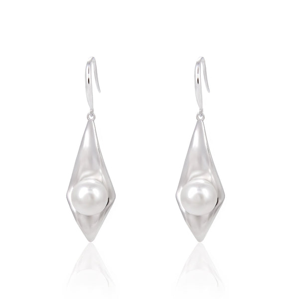 Freshwater Pearl Rhombus Dangle Earrings in 925 Sterling Silver Fashion-Cat_29EA17410600S
