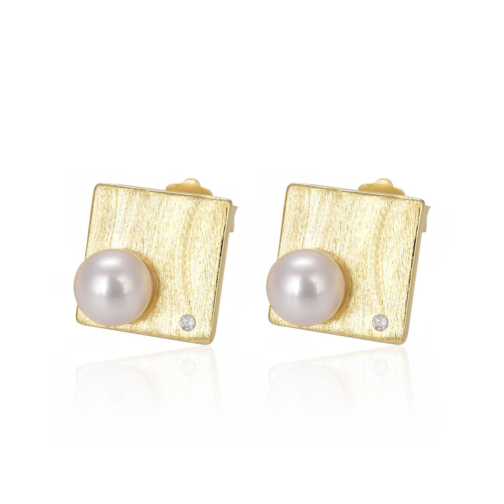 Freshwater Pearl Square Stud Earrings in 14K Gold Overlay 925 Sterling Silver Fashion-Cat_29EA18700362G