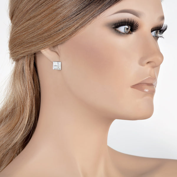 Freshwater Pearl Square Stud Earrings in Rhodium Overlay 925 Sterling Silver Fashion-Cat_29EA18700362S.8