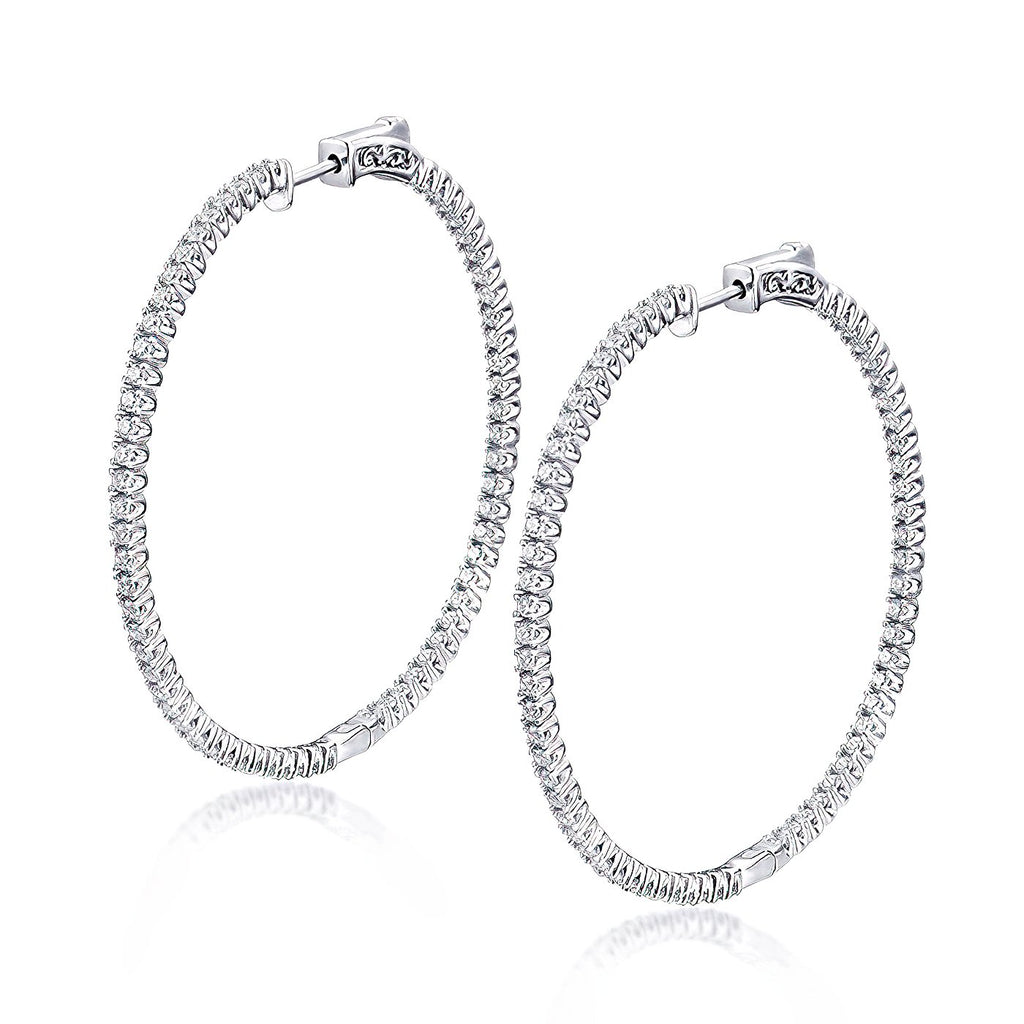 "Sterling Silver Round Hoop Earrings Inside-Out Pave CZ, 1.97"" Diameter Fashion-Cat_30E295491299.1"