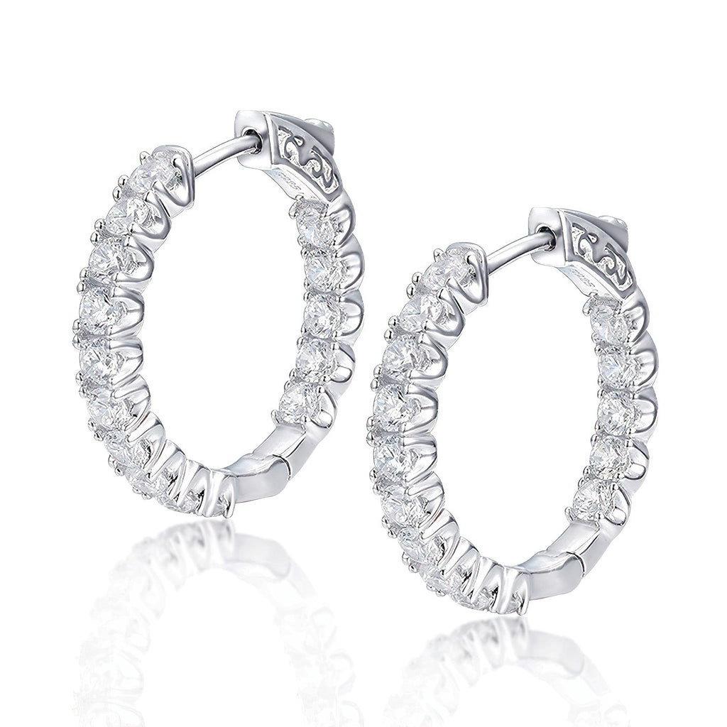 "Sterling Silver Round Hoop Earrings Inside-Out Pave CZ, 1.02"" Diameter Fashion-Cat_30E295501096"