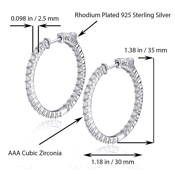 Sterling Silver Oval Hoop Earrings Inside-Out Pave CZ, 1.38