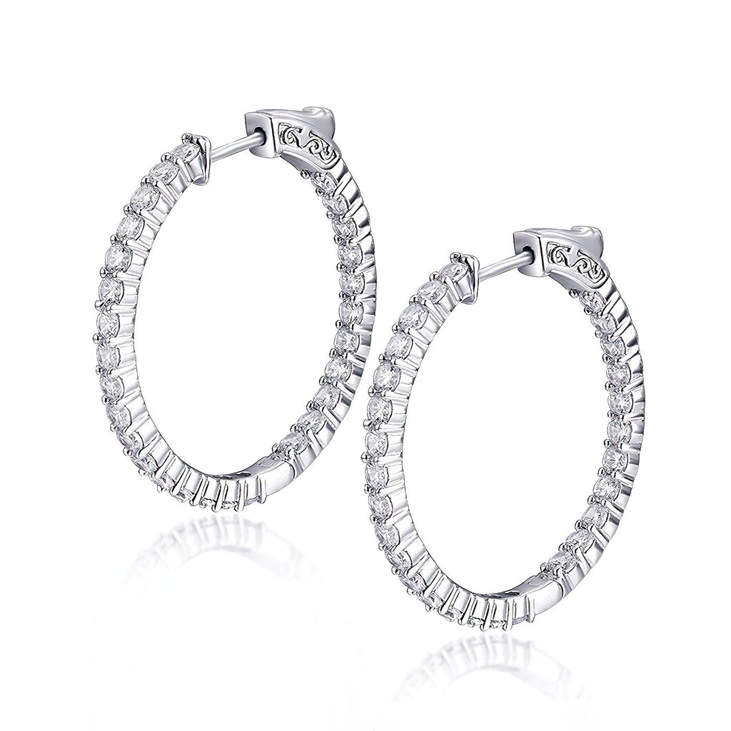 "Sterling Silver Oval Hoop Earrings Inside-Out Pave CZ, 1.38"" x 1.18"" Fashion-Cat_30E296071091.1"