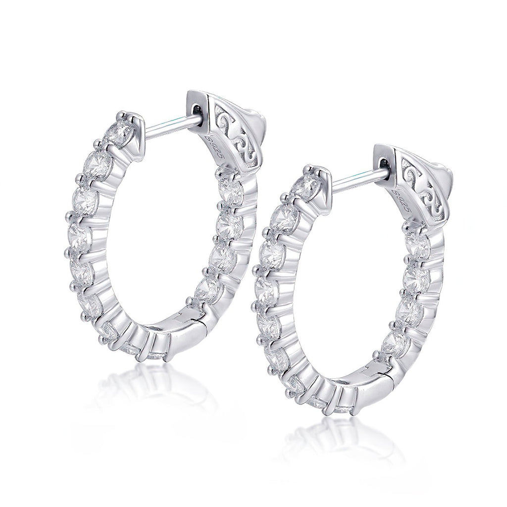 "Sterling Silver Oval Hoop Earrings Inside-Out Pave CZ, 0.94"" x 0.79"" Fashion-Cat_30E296090886.1"