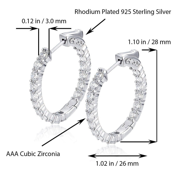 Sterling Silver Oval Hoop Earrings Inside-Out Pave CZ (3 mm), 1.10