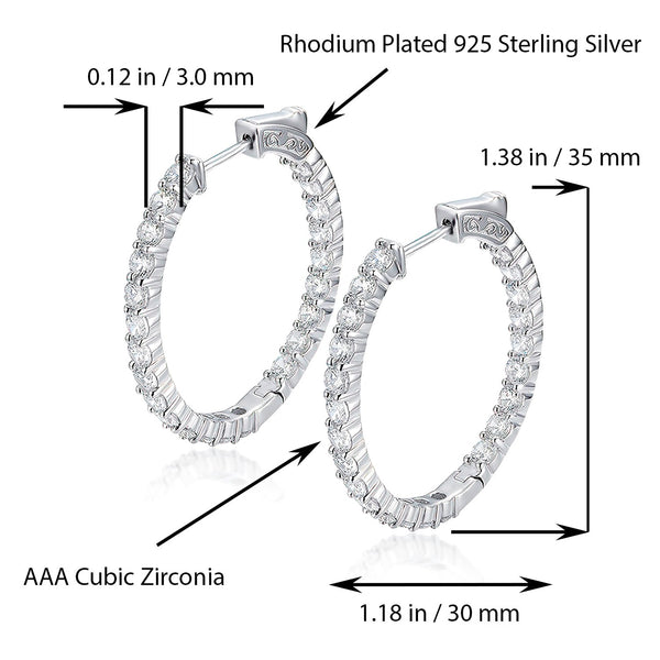 Sterling Silver Oval Hoop Earrings Inside-Out Pave CZ (3 mm), 1.38