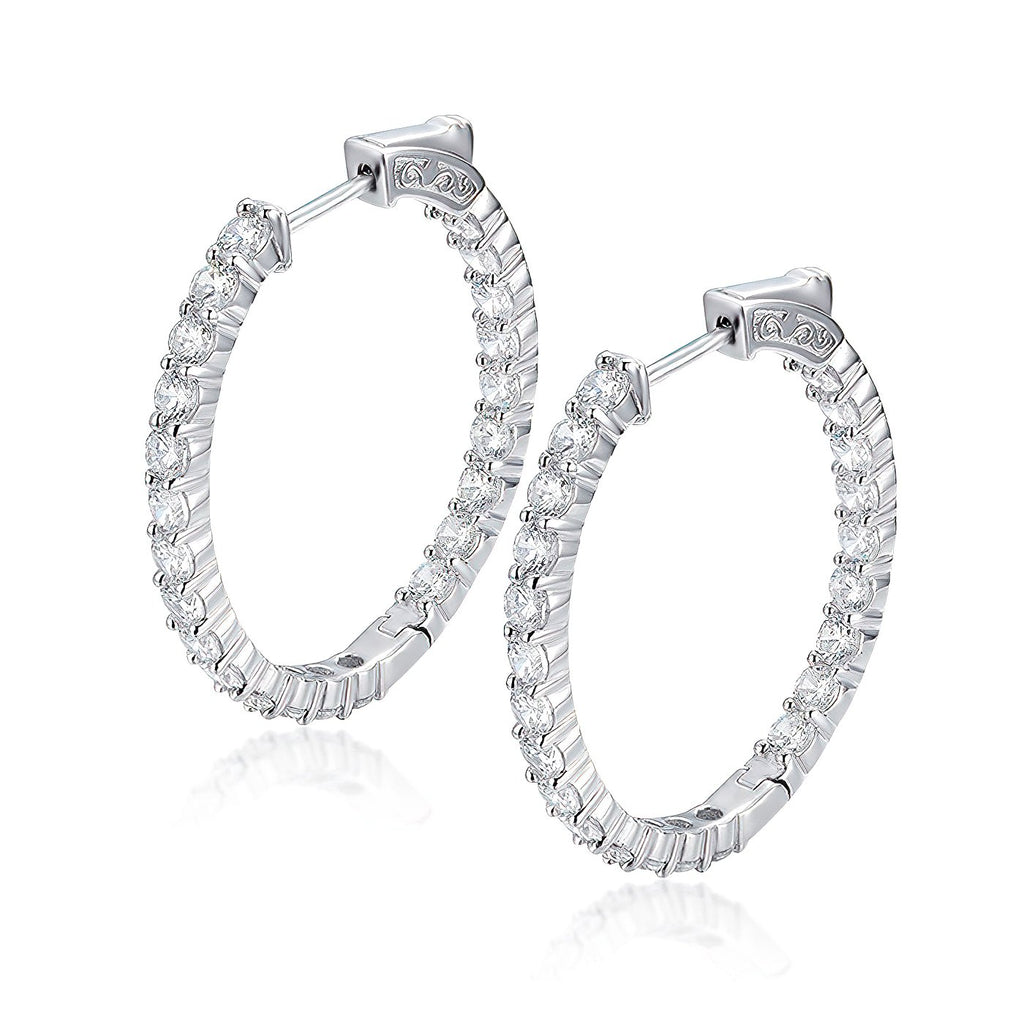 "Sterling Silver Oval Hoop Earrings Inside-Out Pave CZ (3 mm), 1.38"" x 1.18"" Fashion-Cat_30E296111164"
