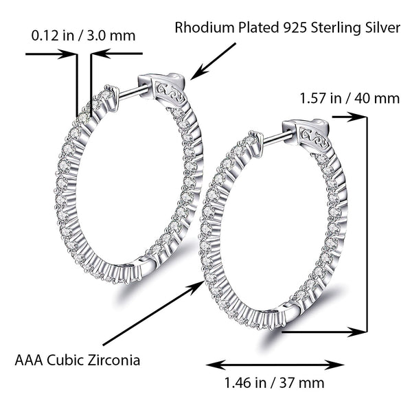 Sterling Silver Oval Hoop Earrings Inside-Out Pave CZ (3 mm), 1.57
