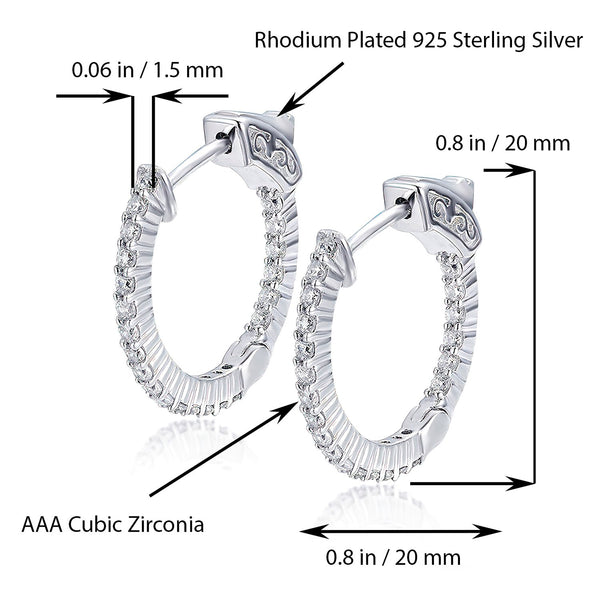 Sterling Silver Round Hoop Earrings Inside-Out Pave CZ (1.5mm), 0.8