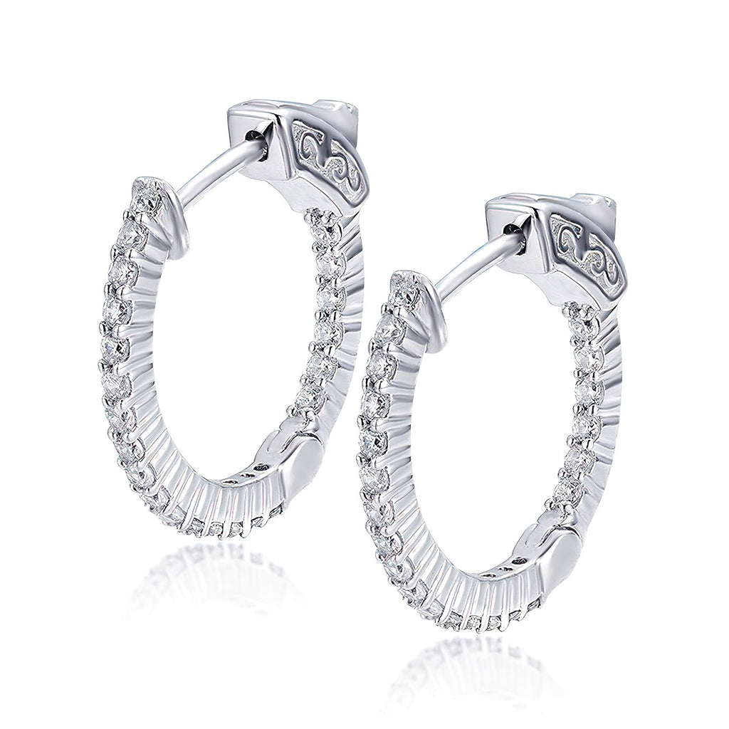 "Sterling Silver Round Hoop Earrings Inside-Out Pave CZ (1.5mm), 0.8"" Diameter Fashion-Cat_30E296130703.1"