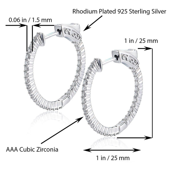 Sterling Silver Round Hoop Earrings Inside-Out Pave CZ (1.5mm), 1