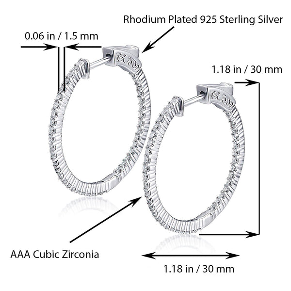 Sterling Silver Round Hoop Earrings Inside-Out Pave CZ (1.5mm), 1.18