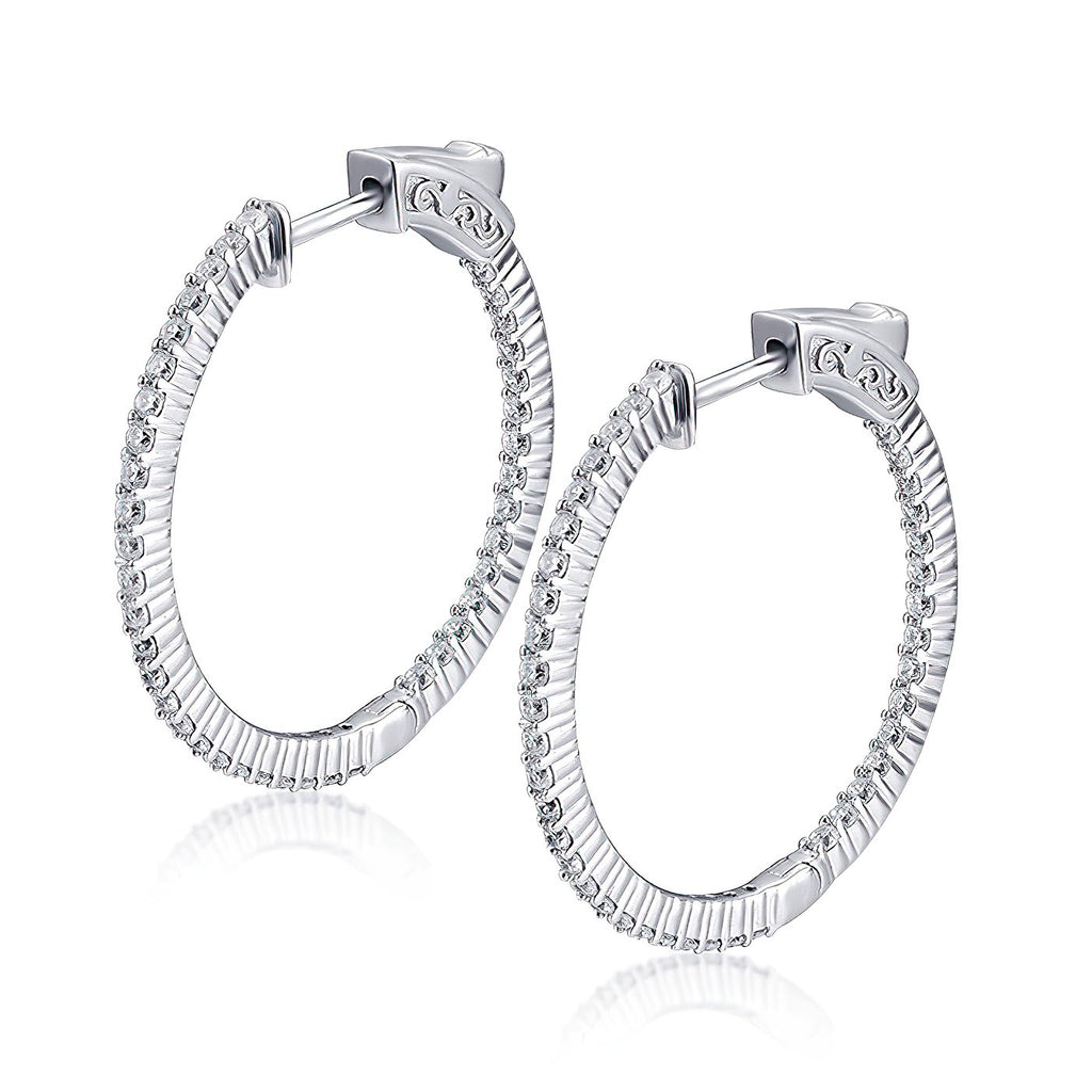"Sterling Silver Round Hoop Earrings Inside-Out Pave CZ (1.5mm), 1.18"" Diameter Fashion-Cat_30E296150928"