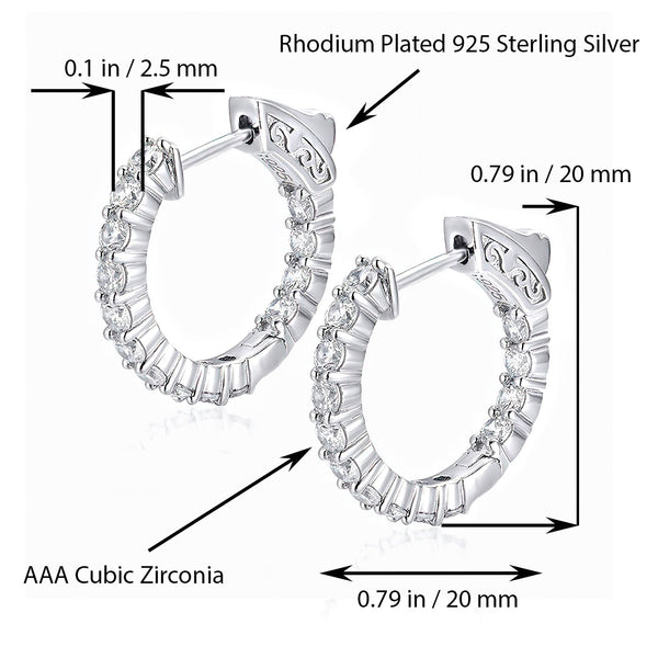 Sterling Silver Round Hoop Earrings Inside-Out Pave CZ (2.5mm), 0.79