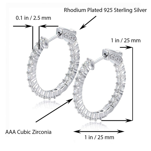 Sterling Silver Round Hoop Earrings Inside-Out Pave CZ (2.5mm), 1