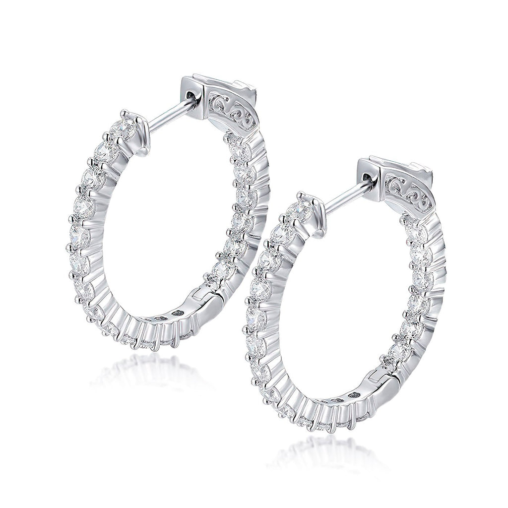 "Sterling Silver Round Hoop Earrings Inside-Out Pave CZ (2.5mm), 1"" Diameter Fashion-Cat_30E296180976"