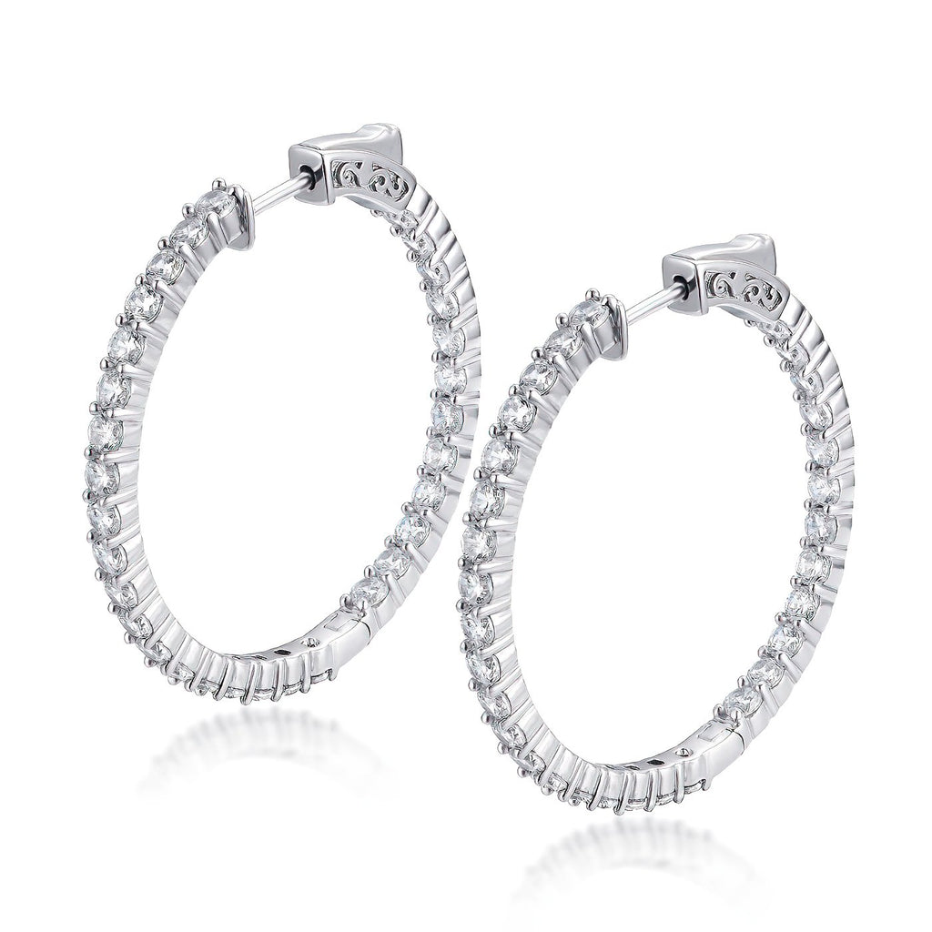 "Sterling Silver Round Hoop Earrings Inside-Out Pave CZ (2.5mm), 1.38"" Diameter Fashion-Cat_30E296201216"