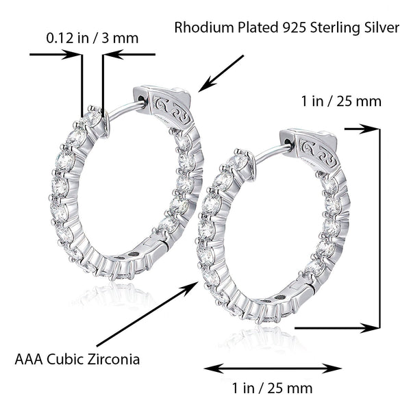 Sterling Silver Round Hoop Earrings Inside-Out Pave CZ (3 mm), 1